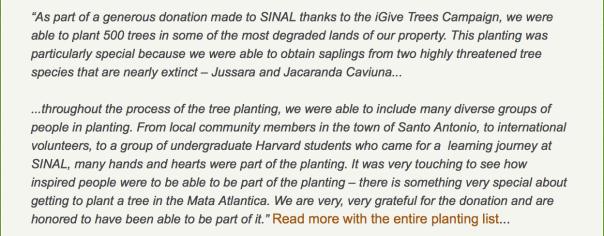 SINAL thanks iGiveTrees